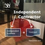 Photo of Nance's WeWork Office with independent contractor equation